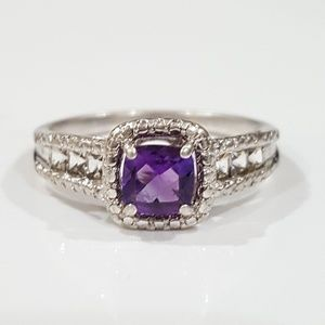 Amethyst Diamond Accent & Sterling Ring